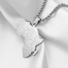 Anniyo хип-хоп стиль кулон Карта Африки ожерелья серебро Нержавеющая сталь ювелирные изделия для женщин мужчин карты Африки Ювелирные изделия Подарки# 043821B