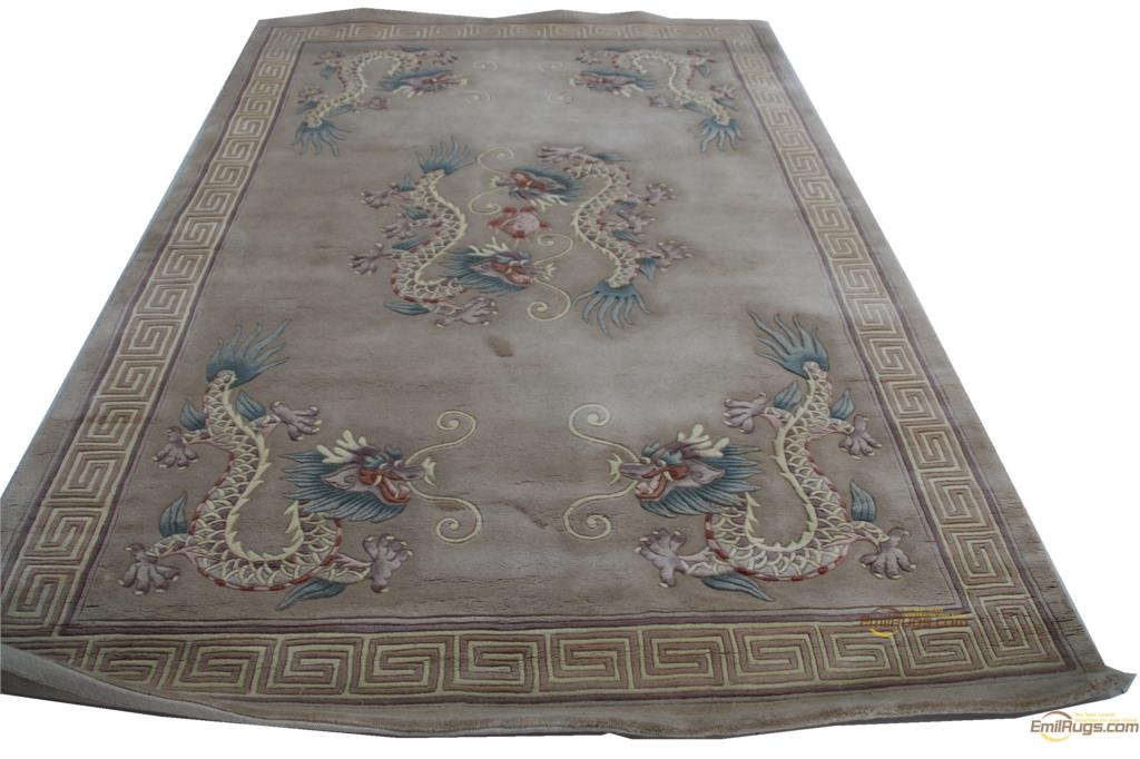 Carpet Floor Wool French Carpet  About 6' X 9'  Hand-knotted Thick Plush Savonnerie Rug