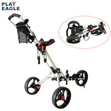 PLAYEAGLE Golf Trolley Foldable Design with Umbrella 3 Wheels Stand Golf Push Pull Cart Bag Carrier