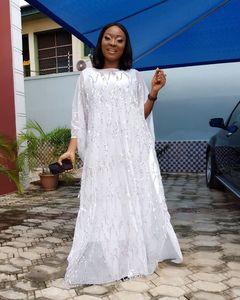 Image 2 - Kadınlar için afrika elbiseler şifon büyük kollu Sequins elbise elbise Maxi uzun çiçek uzun iç afrika giyim