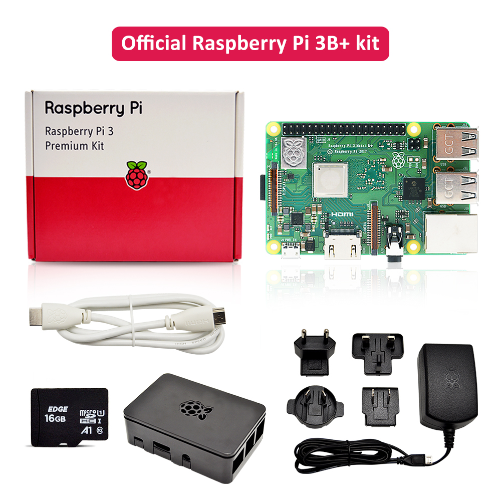 Official Raspberry Pi 3 B Plus Premium Kit With Raspberry Pi Power Supply EU/UK/AU/US Plug +HDMI Cable+case+16G TF Card In Stock