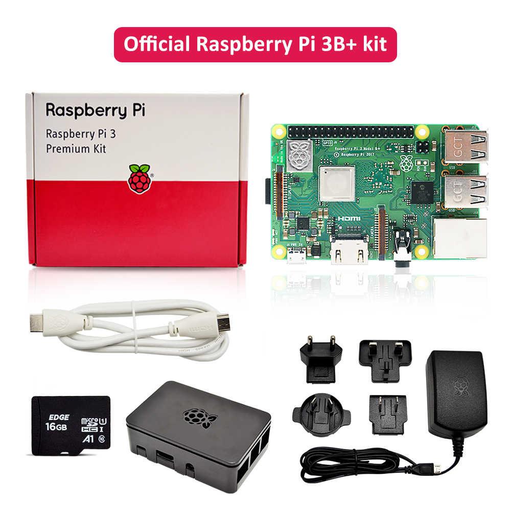 Resmi Raspberry Pi 3 B Plus Premium Kit dengan Raspberry Pi Power Supply EU/Uk/AU/US plug + HDMI Kabel + Case + 16G TF Card Di Saham
