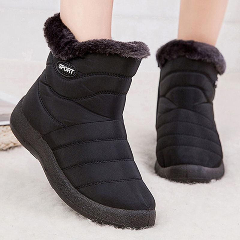 Frank Snow Boots Women's Boots Non-slip Women Winter Boots Fur Warm Ankle Boots For Women Down Waterproof Booties Botas Mujer 40 41 42