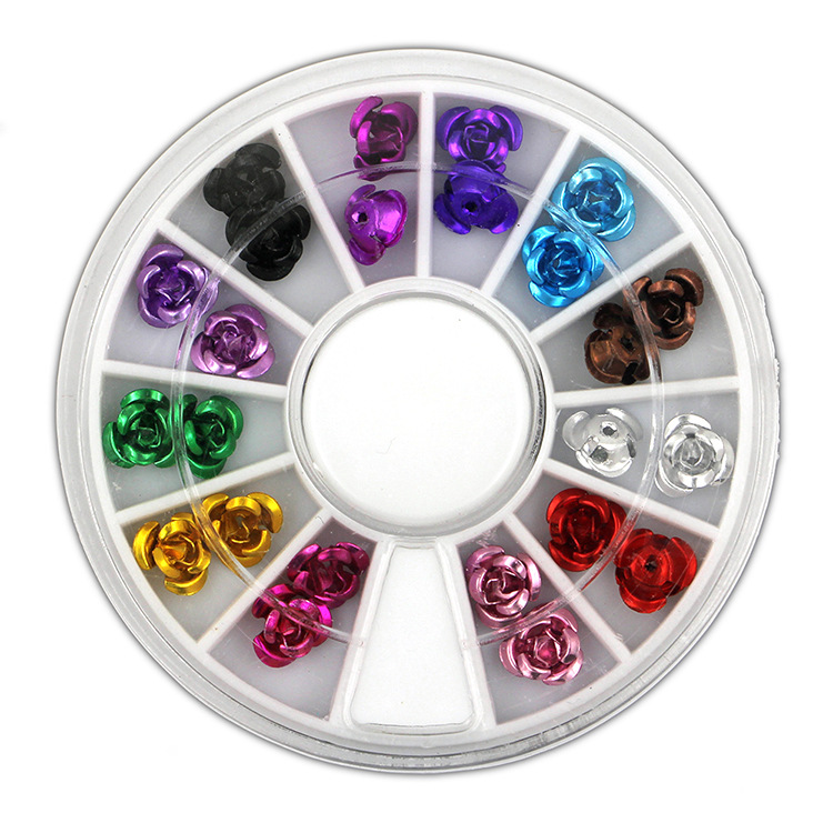 Foreign Trade Supply Of Goods Nail Ornament Metal Rose 3D Nail Applique 12 Color A Set Of Round Plates Manicure Stickers