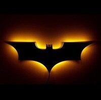 Luz LED de noche con Control remoto inalámbrico, cambio de Color, forma de alas de murciélago, luz de mesita de noche, Logo de Ambiente, 40cm