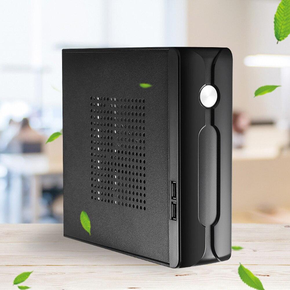 Escritorio fuente de alimentación Gaming HTPC Host Office Home 2,0 USB Mini ITX con agujero de radiador carcasa de ordenador práctico chasis Horizontal