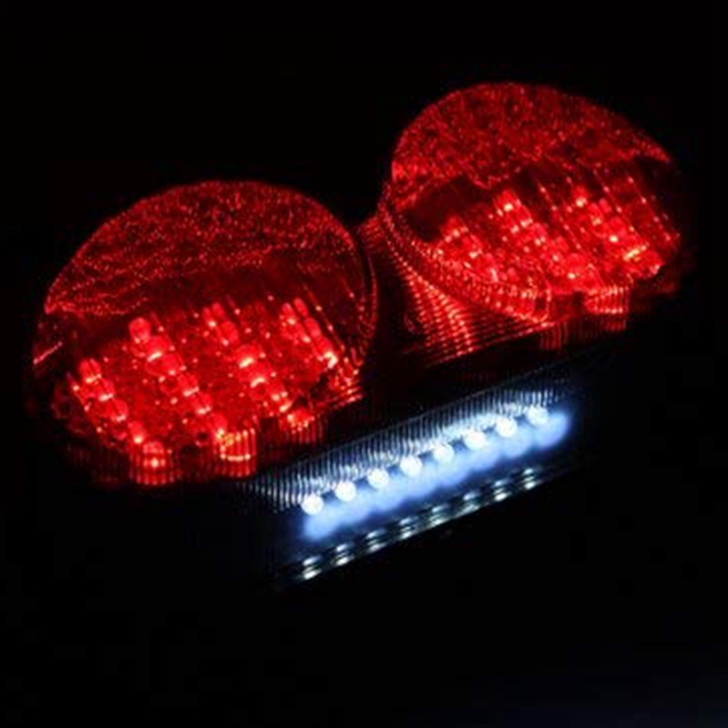 S Integrated Sequential LED Tail Lights Smoke Lens for 1998-2005 Kawasaki Ninja ZR7 ZX-6R ZX-9R ZZR600