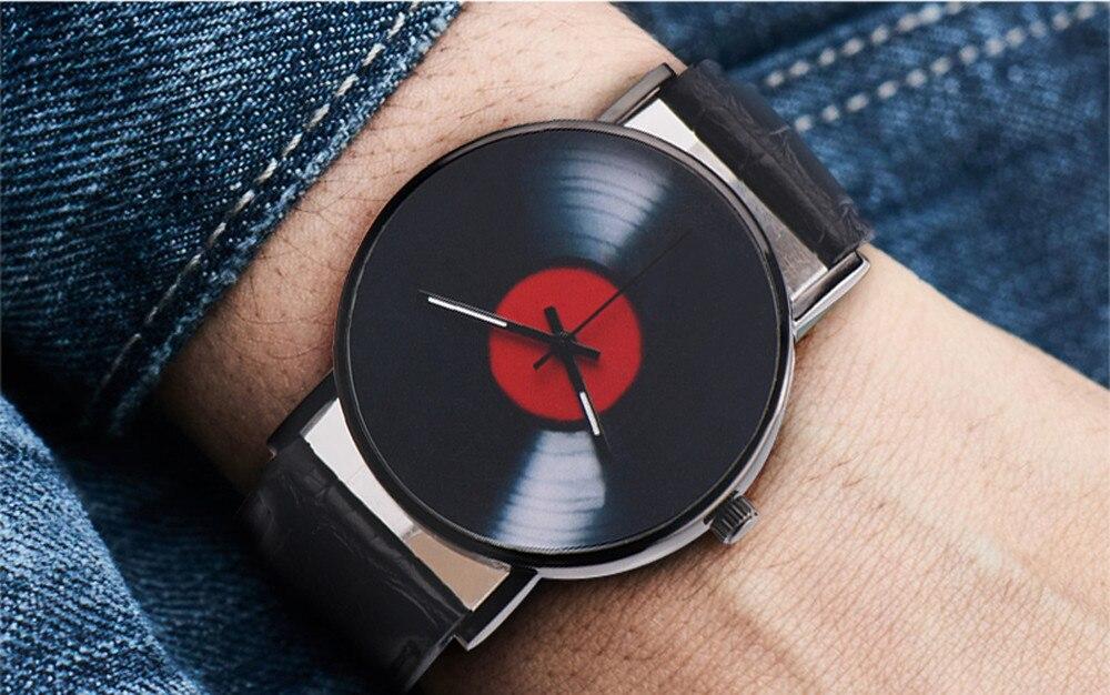 He2992020a6fa46e1a256c9b4aabdc325C 2020 Fasion Men's Watch Neutral Watch Retro Design Brand Analog Vinyl Record Men Women Quartz Alloy Watch Gift Female Clock NEW