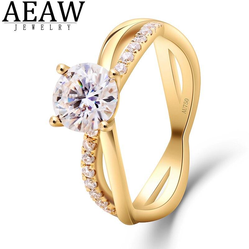 AEAW 14K or jaune 1 Carat laboratoire cultivé moissanite diamant bague de fiançailles Solitaire avec des accents pour les femmes