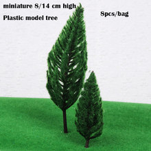 miniature 8/14 cm high Plastic model tree Christmas Tree Model of Deep Green Pine DIY sand table material 8pcs/bag(China)