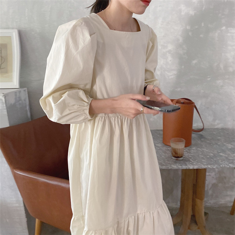 He29990ae809d44c6948ac740d5c16e48R - Spring / Autumn Square Collar Long Lantern Sleeves Loose Solid Midi Dress