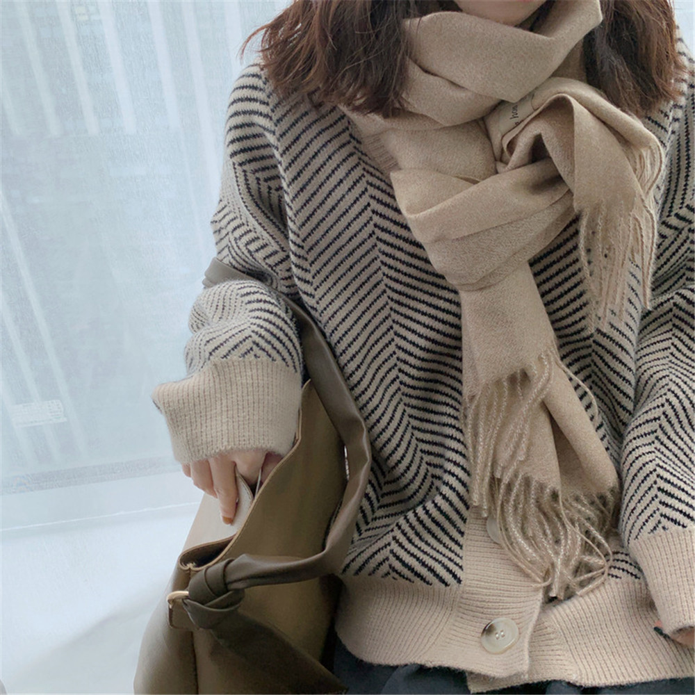 Winter Knitted Sweater Cardigans Women 2020 Spring Open Stitch Loose Knit Cardigans Pink Jumper Striped Sweater Coat Femme 9220 (33)