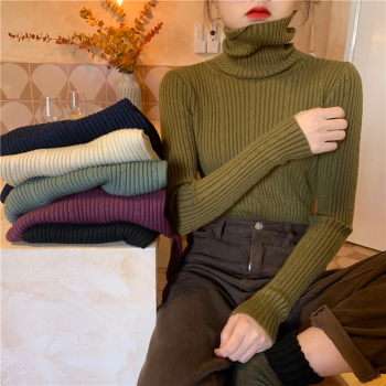 Autumn Winter basic thick Sweater Women Knitted Ribbed Pullover Sweater Long Sleeve Turtleneck Slim Jumper Soft Warm Pull Femme turtleneck ribbed pullover sweater