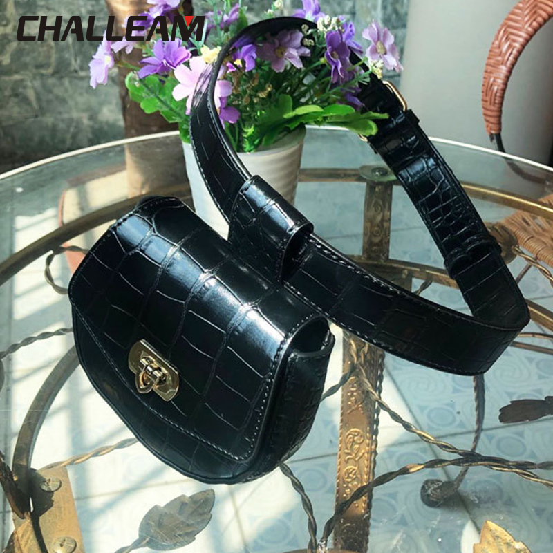 Female Heart Clasp Detachable Simple Mini Belt Bags Black Fanny Pack Women Crocodile Pattern Small PU Leather Waist Bag 389