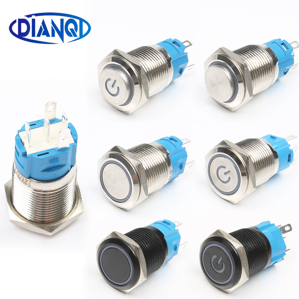 Latching Push Button Switch Locked 16mm Flat Head Momentary Metal Press Push Button Waterproof LED Metal Switch Power Mark