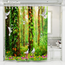 Forest Shower Curtain 3D Bird Bathroom Curtain Waterproof Mildewproof Fabric Shower Curtain For Bath douchegordijn landschap unique mandala mildewproof shower curtain