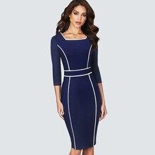 Краткое элегантный квадратный вырез одежда для мужчин в офисном стиле; обтягивающая юбка-карандаш средней длины платье-футляр HB551