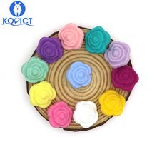 Baby Necklace Flower Silicone Beads Chewable-Toy Bpa-Free Rose Kovict 10pcs