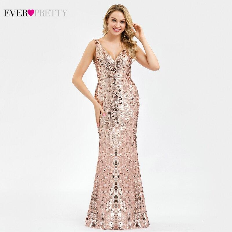 Robe De Soiree Ever Pretty Sequined Evening Dresses Long Rose Gold V-Neck Mermaid Elegant Formal Party Longue
