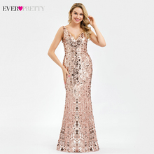 Robe De Soiree Ever Pretty Sequined Evening Dresses Long Rose Gold V-Neck Mermaid Elegant Formal Party Longue