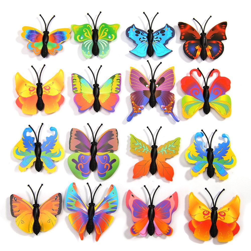 Hot!18PCS Waterproof Charming Cozy PVC 3D Butterfly Wall Mural Sticker Home Deco