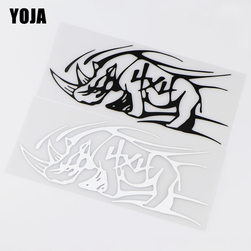 YOJA 18.7X8.2CM Rhinoceros <font><b>4x4</b></font> <font><b>Off</b></font> <font><b>Road</b></font> Cartoon Car <font><b>Sticker</b></font> Personality Decal Decoration ZT4-0210 image