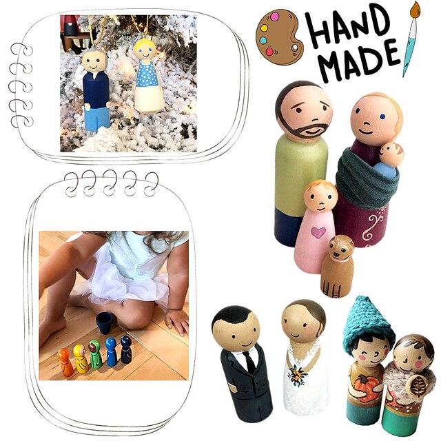 Wooden Peg Dolls 50PCS 65mm,55mm,43mm,35mm Girl Boy Wood Dolls Kids Room Decor DIY Unfinished Wooden Peg Dolls 6