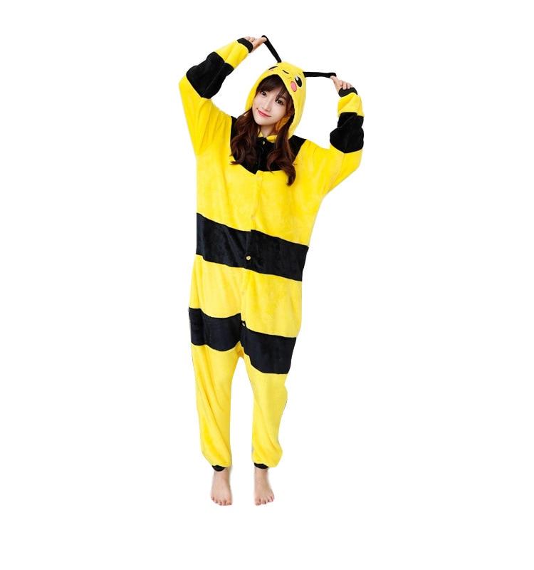 Adult Bee Kigurumi Women Men Cartoon Animal Cosplay Costume Winter Onesie Pajama Hooded Couple Funny Party Suit