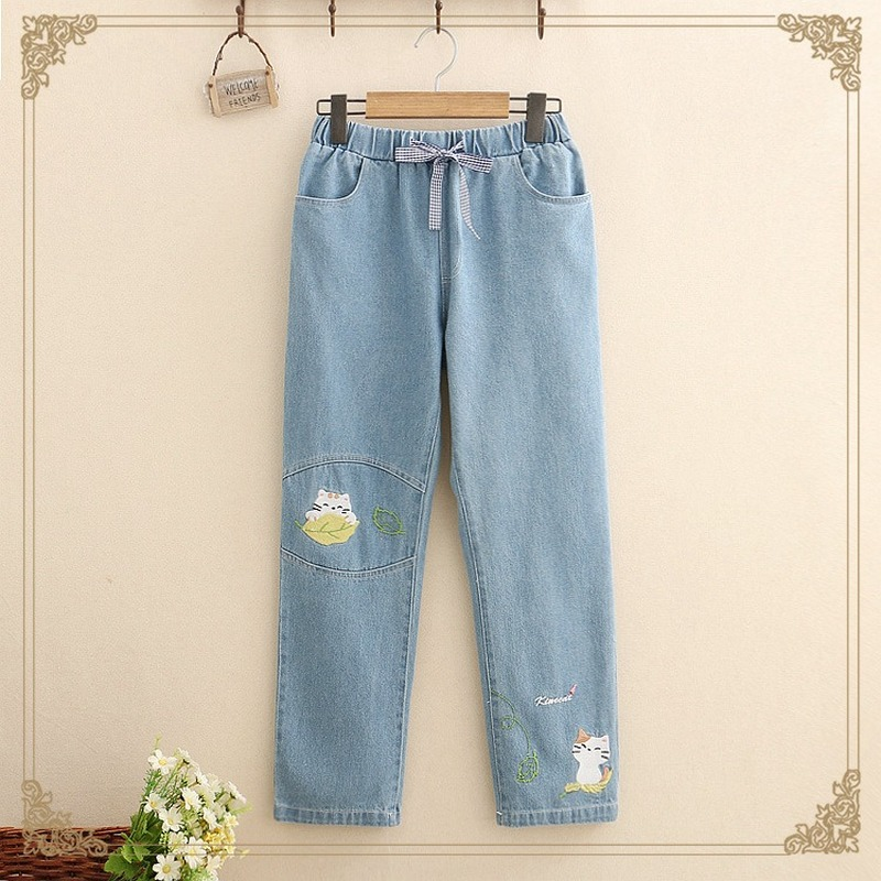 Japanese Cute Cartoon Denim Pants Female Stretch High Waist Jeans Women Korean Fashion Embroidery Cat Teen Girl Loose Trousers