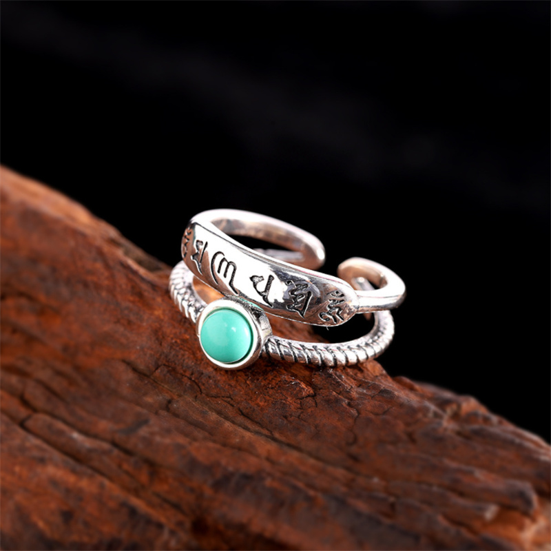 Lucky Turquoise Six-Character Mantra Ring