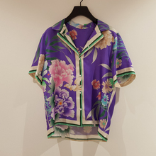 Ethnic style printed ladies shirt 2020 summer new Notched co