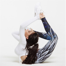 All-star ladies sexy high waist yoga pants fitness running tights leggings fashion breathable wings printed casual