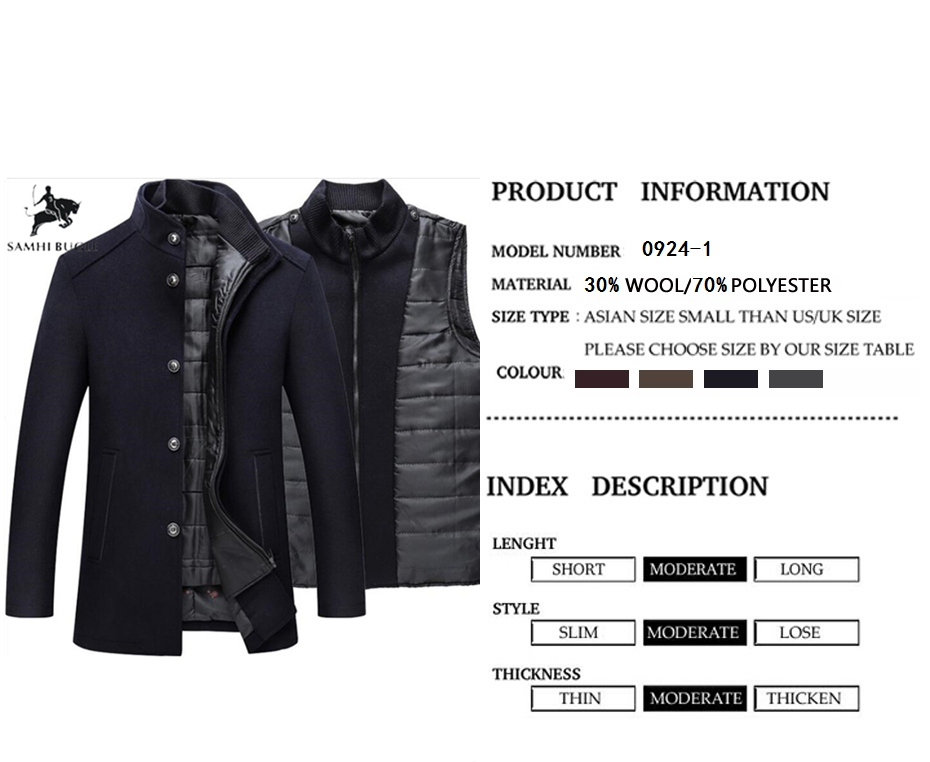 Winter Warm Wool Coat Men Thick Overcoats Topcoat Mens Single Breasted Coats And Jackets With Adjustable Vest Men's Coat 1