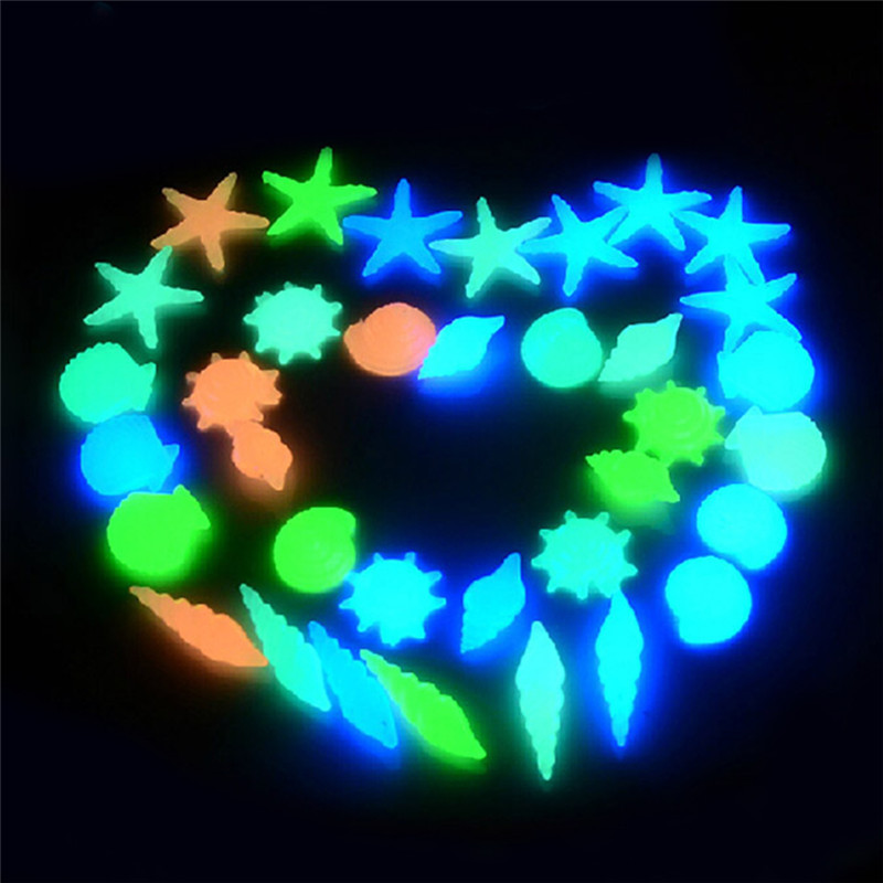 50pcs Glow In The Dark Shell Starfish Luminous Stone Garden Cobbled Walkways Yard Garden Luminous Stones Decor for Fish Tank