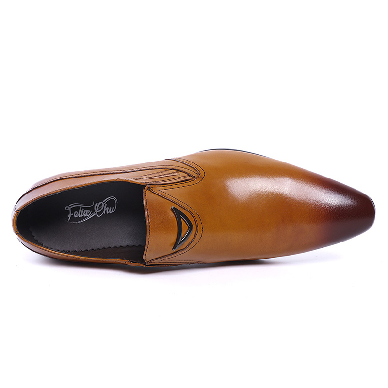 Image 5 - FELIX CHU Italian Style Black Yellow Genuine Leather Men Loafer  Slip On Formal Shoes Wedding Party Pointed Toe Male Dress Shoeslip  onslip on loafersslip on men