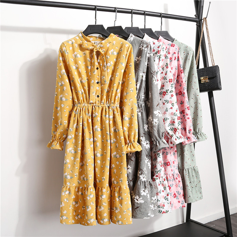 New 2019 High Elastic Waist Corduroy Vintage Dress A-line Women's Full Sleeve Floral Print Dresses Slim Feminino Bow Neck Dress