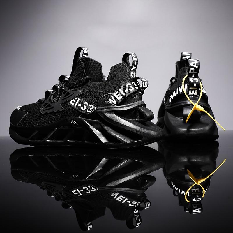 Chaussures de course antidérapantes avec semelle en lame pour homme,paire de baskets respirante, soulier de sport, avec amortis, pour jogging et entraînement, bonne qualité,