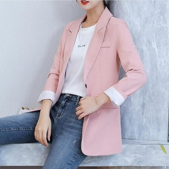 Professional Loose British Style Black Pink Women Blazers And Jackets Formal Plus Size 3xl Coats Woman Clothes 1