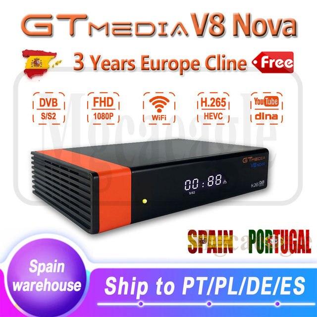 $ US $44.00 1080P HD DVB-S2 GTmedia V8 Nova Cccam Cline Satellite TV Receiver Built in WIFI power by Freesat V8 Super 3 Years Europe Cline