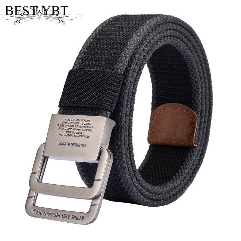 Best YBT Unisex Canvas Belt Alloy Double Ring Buckle Belt Army Tactical Selling Outdoor Sport Cowboy Pants Men And Women Belt