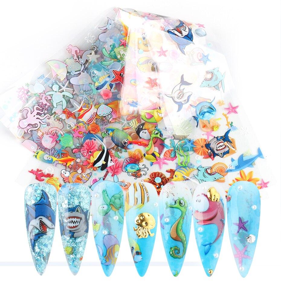 10 шт., голографический набор фольги для ногтей с изображением морских животных, тропическая рыба, Акула, милый дизайн, переводная наклейка д...