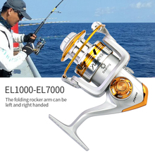 Outdoor Fishing Reels Spinning Wheel Squid Left Handle Metal Stainless Steel Shaft Rear Tug tool Tackle Silver EL1000 1pc