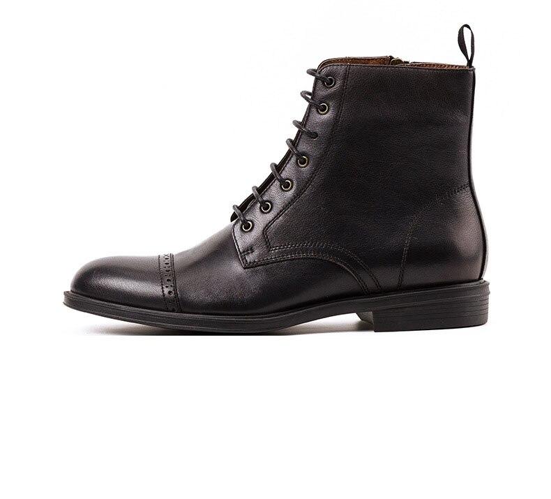 Мужские ботинки из натуральной коровьей кожи; цвет коричневый, черный; модные повседневные кожаные рабочие ботинки Martin; мужские уличные кро... - 3
