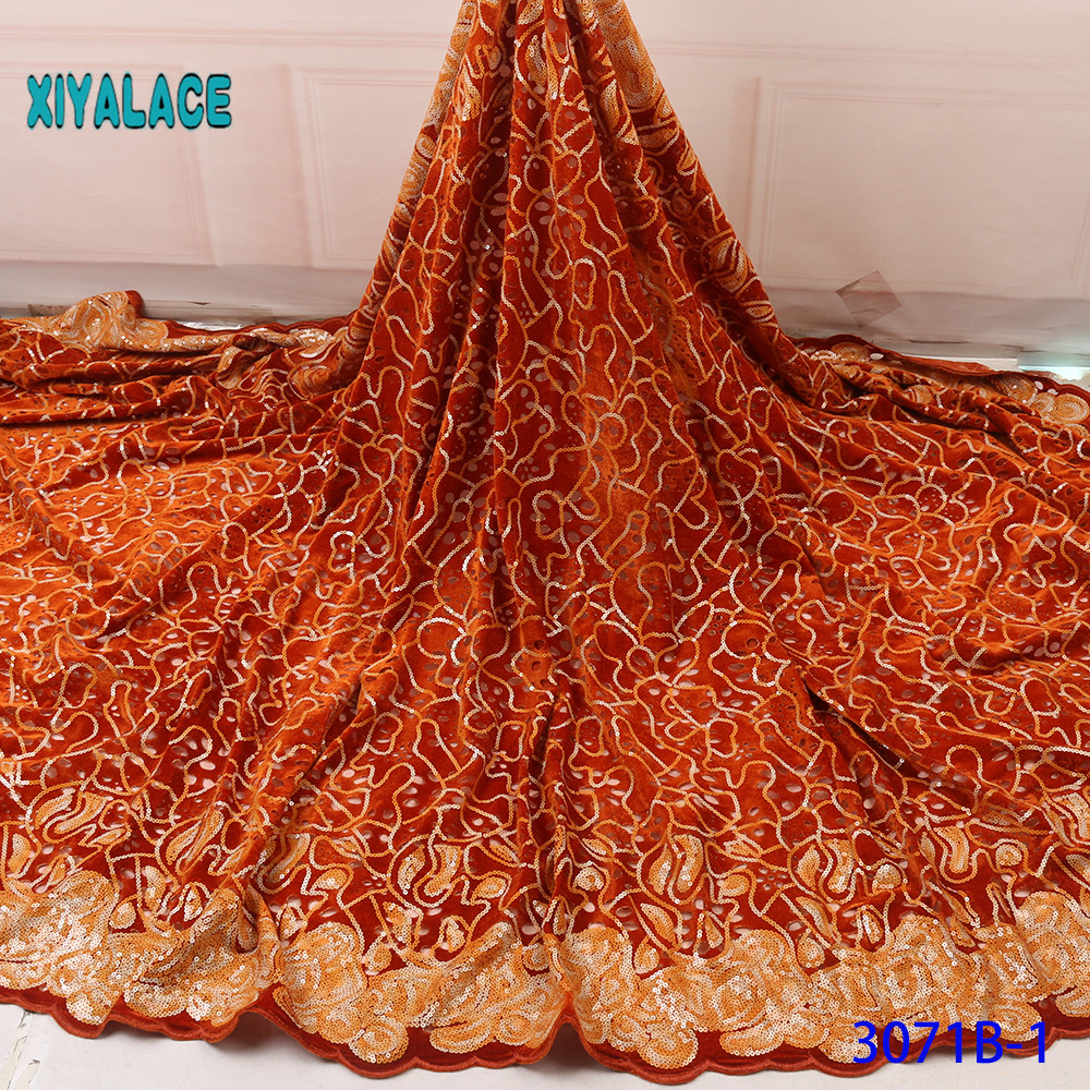 Latest Gold Color African Lace Fabric With Sequins 2019 High Quality French Tulle Lace Lace Fabric For Woman Dres YA3071B-1