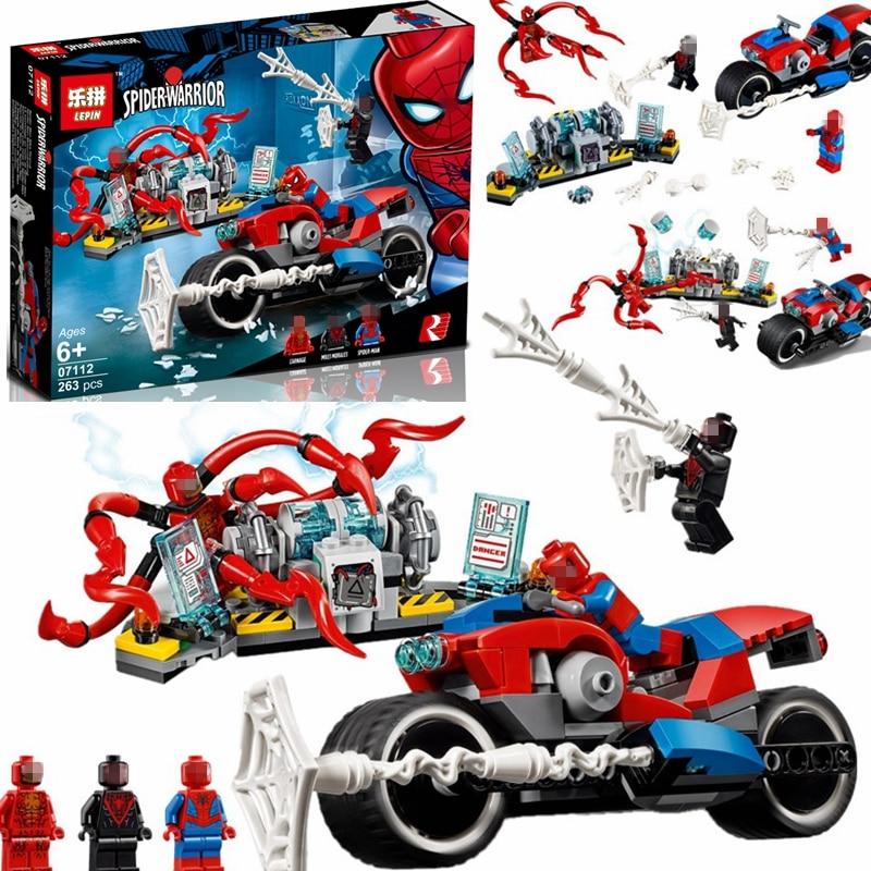 New Superheros Spider-Man Bike Rescue Building Blocks Compatible 76113 Superhero Spiderman Figures Bricks Toys For Children Gift