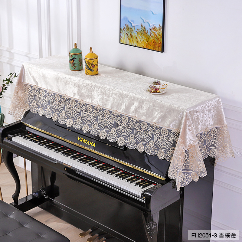 Lace Embroidery Velvet Piano Cover 90x220cm Green Blue Champagne Nodic Decorative Piano Covers Home Cover
