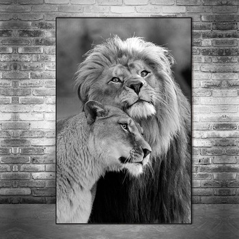 Lion Couple Black And White Picture Printed on Canvas 1
