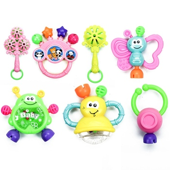 7Pcs/Set Infant Teether Toy Plastic Hand Jingle Shaking Bell Baby Rattles Toy Kids Dumbell Grasp Hand Bells Music Sound Gifts недорого