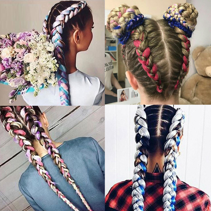Long Ombre Jumbo Hair Accessories Synthetic Braiding Hair Crochet Blonde Pink Blue Grey Hair Extensions Jumbo Braids