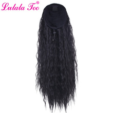 24inch Long Wavy Drawstring Ponytail Wig For Women Synthetic Corn Wave Clip in Hairpiece Wrap Around Pony Tail Hair Extension long center parting corn hot wavy colormix synthetic wig